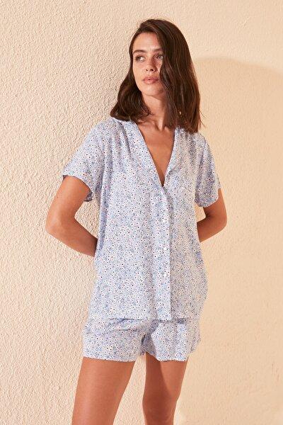 Çıtır Çiçekli Viskon Dokuma Pijama Takımı THMSS20PT0249