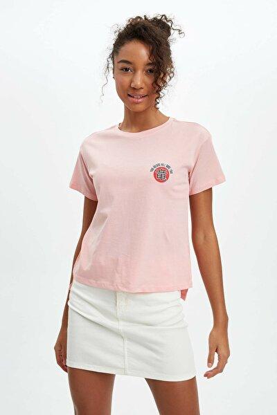 Kadın Pembe Baskılı Kısa Kollu T-Shirt R1129AZ.20SP.PN185