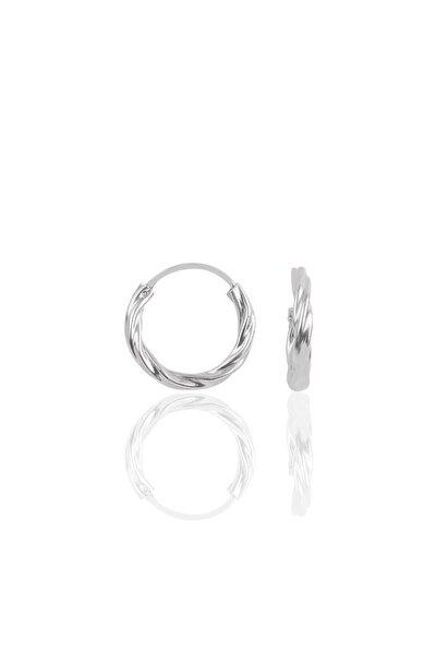 Gümüş  Mini Burgu Modeli Halka Küpe 14 mm