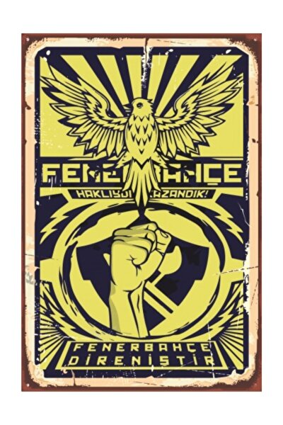 Fenerbahçe  Retro Vintage Ahşap Poster