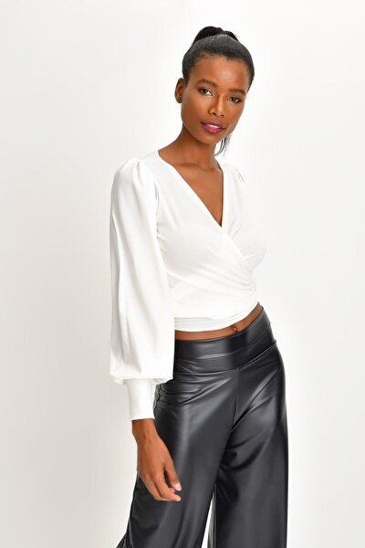 Kadın Çift Kullanımlı Krep Anvelop Bluz