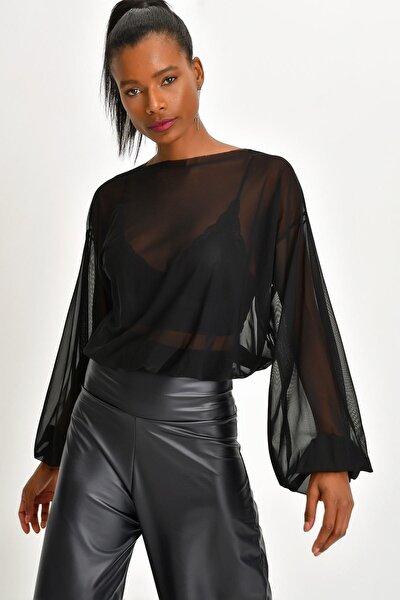 Kadın Siyah Tül Bluz