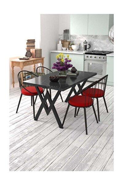 Eylül 4 Kişilik Mutfak Masası Takımı Siyah Mermer Desen Kırmızı