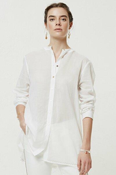 Kadın Kırık Beyaz Nervür Detaylı Gömlek 0YKGM6134X