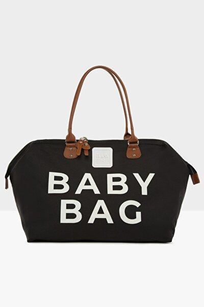 Siyah Baby Bag Baskılı Bebek Bakım Çantası