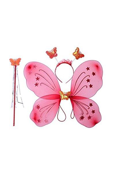 Pembe Renk Kelebek Kanat Set 50 cm Kanat Asa Taç 3'lü  Set