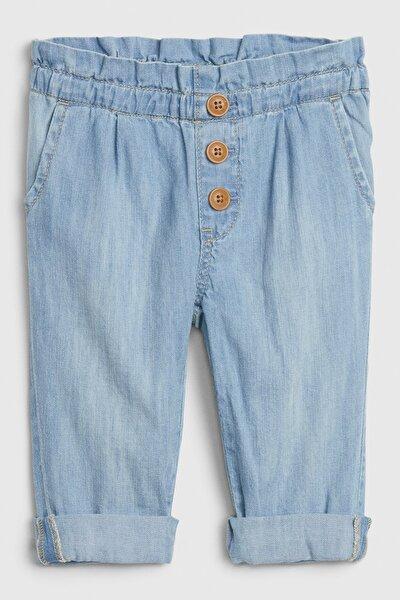 Kız Bebek Düğmeli Pull-On Jean Pantolon
