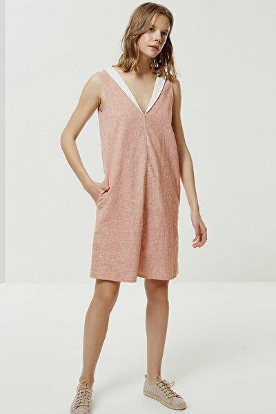 Kadın Turuncu Şal Yaka Kolsuz Elbise 0YKEL7144X