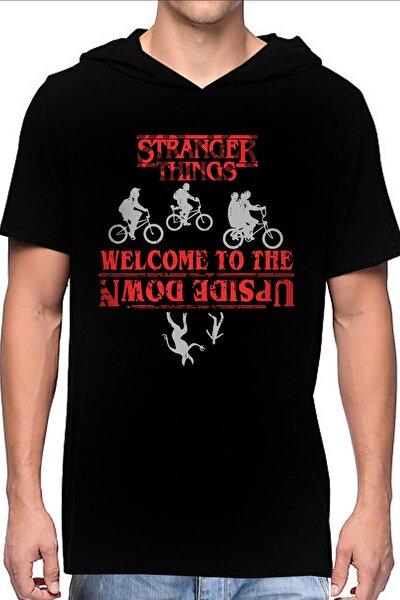 Bisikletli Stranger Things Siyah Kapşonlu Kısa Kollu Erkek T-shirt
