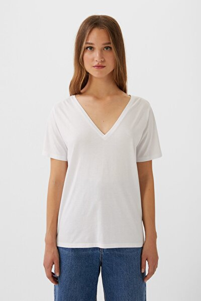 Kadın Beyaz V Yaka Basic T-Shirt 02512618