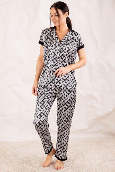 Kadın Siyah Desenli Yakalı Saten Pijama Takımı ARM-20Y001016