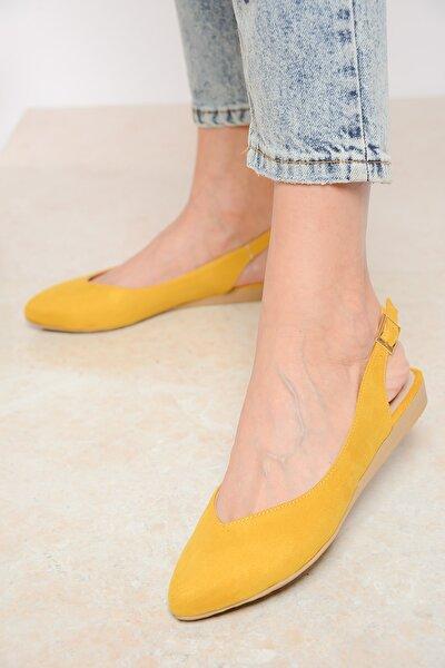 Sarı Süet Kadın Sandalet 20Y 900