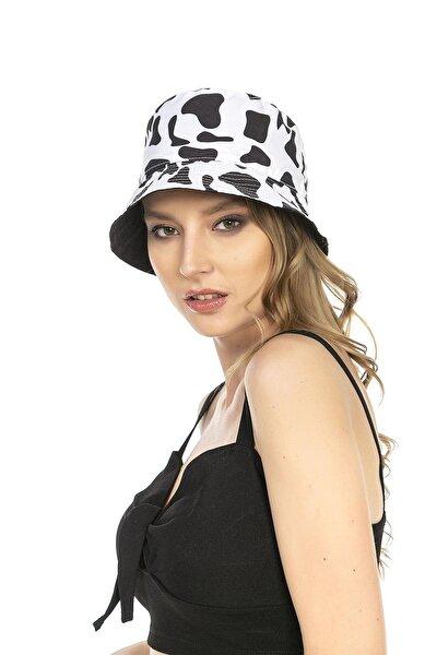 14018 Inek Desenli Çift Taraflı Beyaz-siyah Bucket Şapka