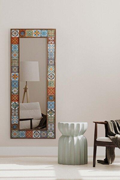 Doğal Ağaç Masif 62x149 Cm Çerçeveli El Yapımı Çini Seramik Salon Ofis Mutfak Duvar Konsol Boy Ayna