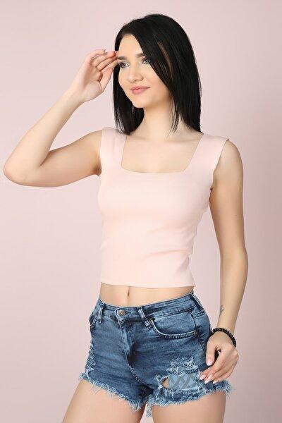 Kadın Pembe Kare Yaka Likralı Fit Crop Bluz