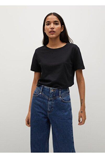 Kadın Siyah Organik Pamuklu Basic Tişört