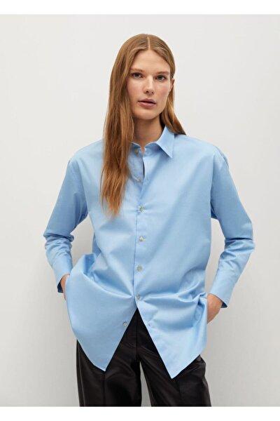 Kadın Mavi Düğmeli Pamuklu Bluz