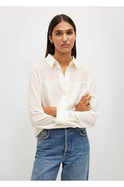 Kadın Ekru Saten Parçalı Gömlek