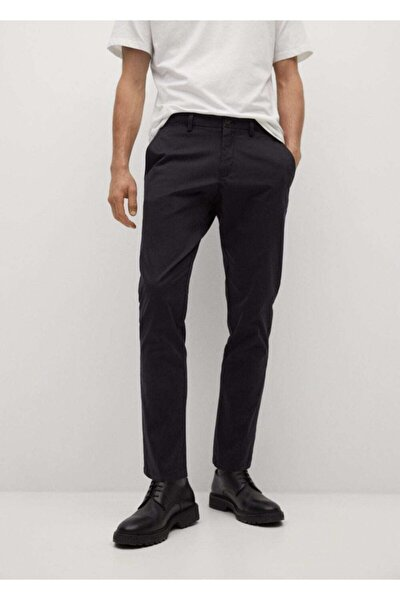 Erkek Siyah Daralan Kısa Paçalı Chino Pantolon