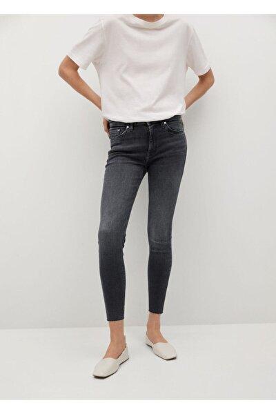 Kadın Gri Kısa Paçalı Skinny Isa Jean Pantolon
