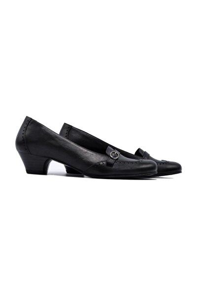 Hakiki Deri Siyah Kadın Klasik Topuklu Ayakkabı 505061401-1