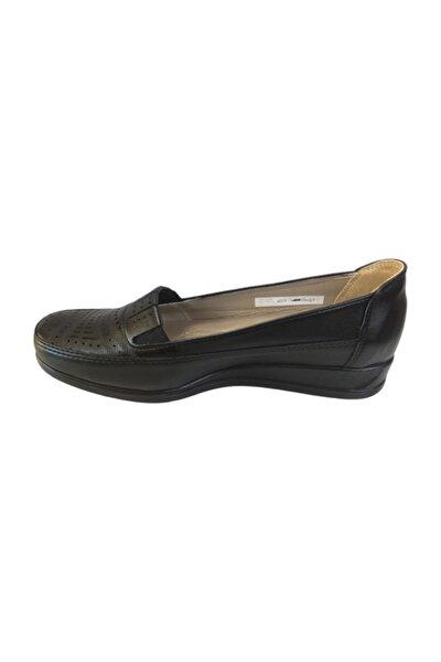 Ba651414 Siyah Hakiki Deri Ortopedik Kadın Ayakkabı