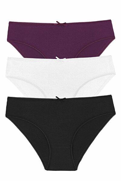 Kadın Blck/Ecr/Purple 3 Lü Renkli Külot