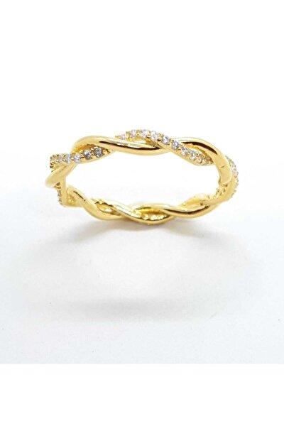 925 Kadın Burgu Tamtur Zirkon Beyaz Taşlı Sarı Altın Kaplama Gümüş Yüzük Krr-y04