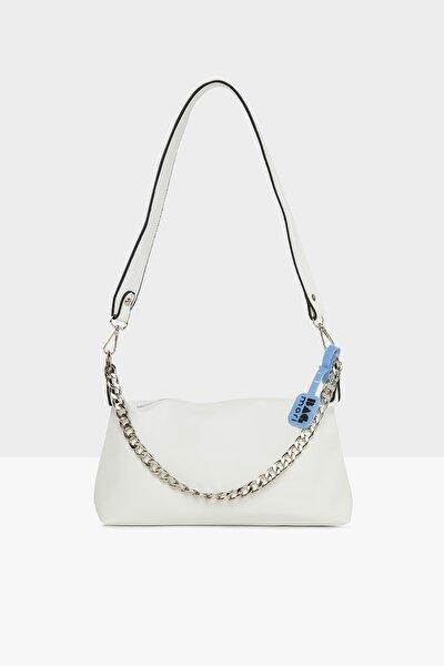 Beyaz Kadın Kalın Zincirli Saten Baget Çanta M000005117