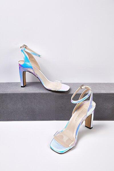 Kadın Fildişi Rengi Şeffaf Bantlı Dolgu Topuklu Gelin Ayakkabısı ALICIA BRIDAL