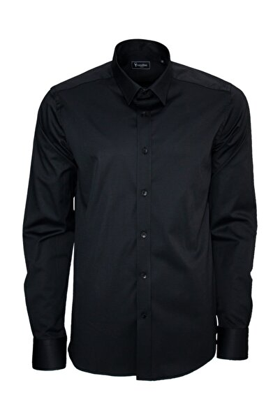 Standart Fit Klasik Düz Siyah Gömlek C0049c