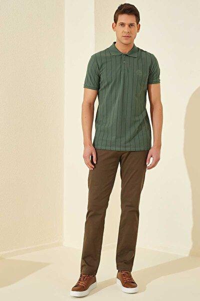 Çizgili Polo Yaka Yeşil Erkek Tshirt T08ER-87797_1