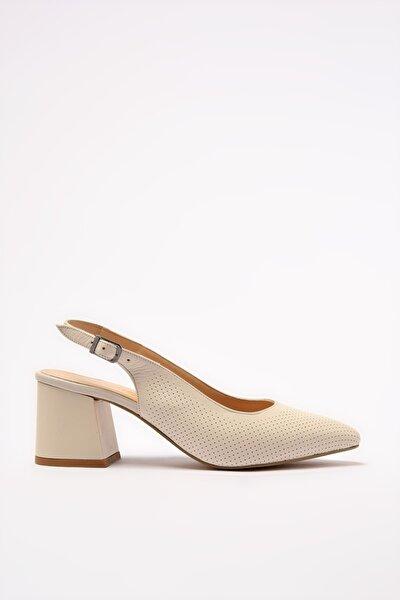 Hakiki Deri Naturel Kadın Klasik Topuklu Ayakkabı 01AYH205130A400