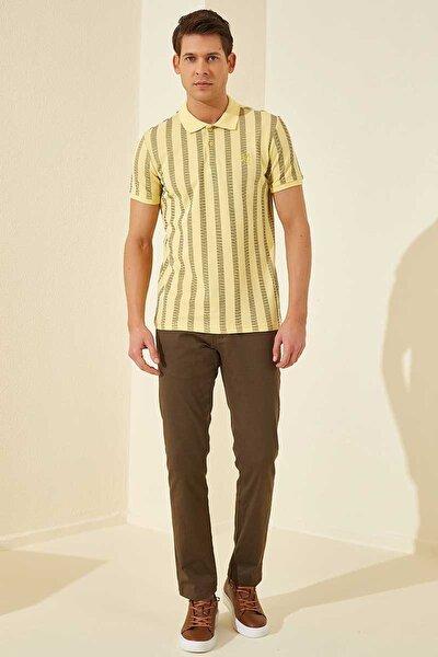 Desenli Polo Yaka Sarı Erkek Tshirt T08ER-87805_1