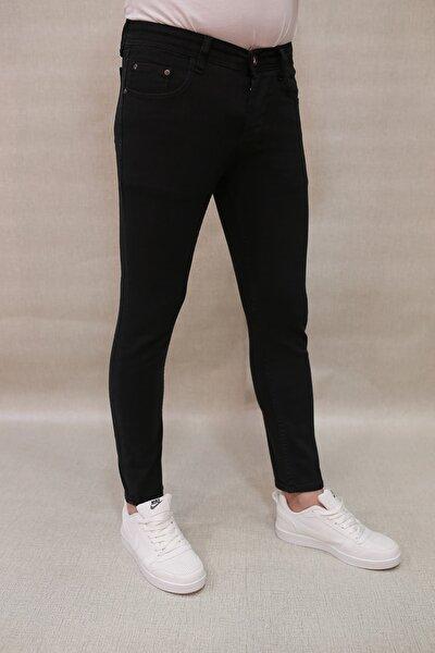 Erkek Skinny Dar Kesim Kot Pantolon Siyah