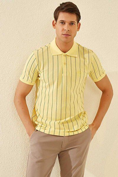 Çizgili Polo Yaka Sarı Erkek Tshirt T08ER-87797_1