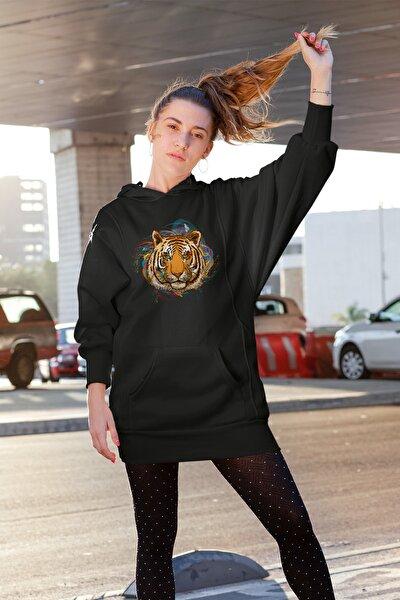 Kadın Wear Rengarenk Arkaplanlı Kaplan Siyah Elbise Sweatshirt Tunik