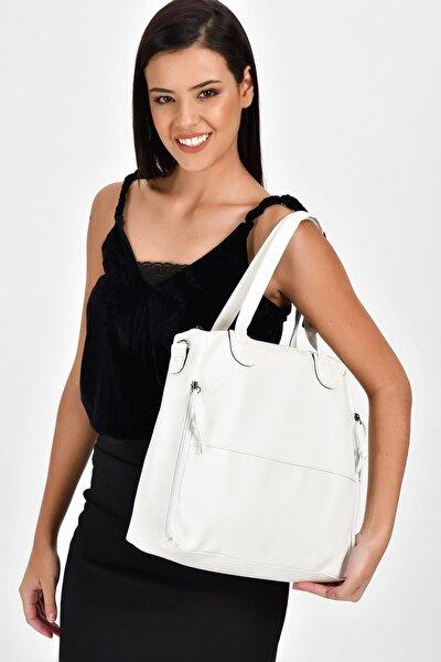 Beyaz Kadın  Fermuar Detaylı Omuz Çantası 10VA2049