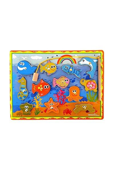 Ahşap Balık Tutma İpe Dizme Bultak Oyunu Montessori Çocuk Etkinlik Zeka