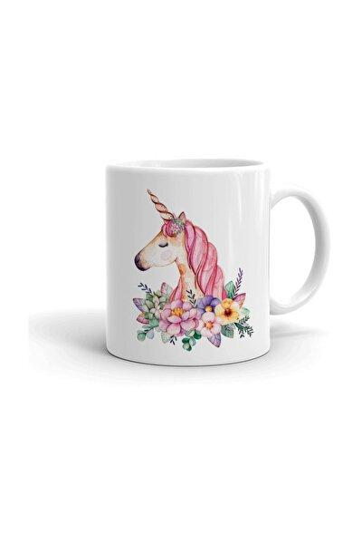 Çiçekli Unicorn Seramik Kupa Bardak