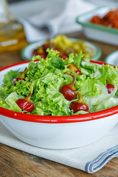 Beyaz Kırmızı Emaye Salata Kasesi