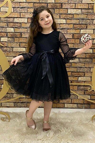 Siyah Fransız Dantel Tokalı Kız Çocuk Elbise