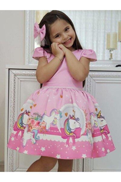 Kız Çocuk Pembe Unicorn Perla Beli Incili  Elbise