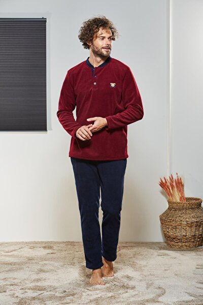 Erkek Düğmeli Polar Pijama Takımı 21330