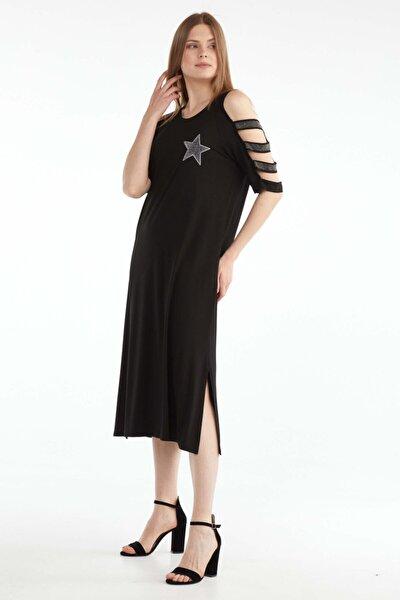 Kadın Büyük Beden Kolu Taş Detaylı Elbise - Siyah