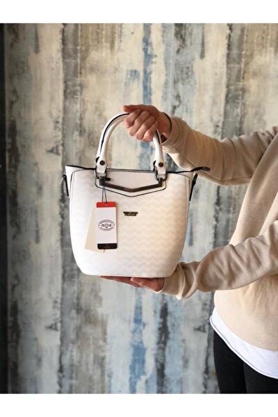 Saten Kadın El Omuz Ve Çapraz Beyaz Renk Çanta