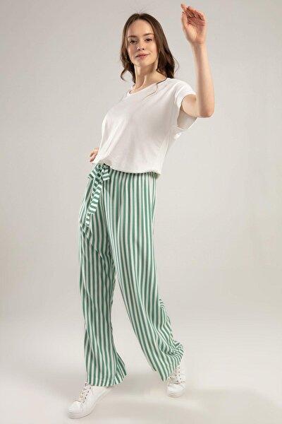 Kadın Bol Kesim Çizgili Pantolon Y20s110-6470
