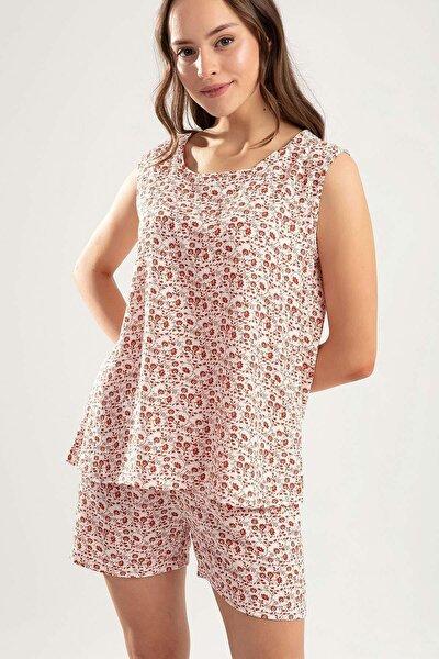 Kadın Çiçekli Şortlu Pijama Takımı Y20s110-6478-1