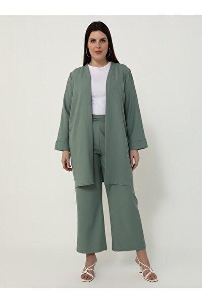 Büyük Beden Kap&pantolon Ikili Takım - Yağ Yeşili -
