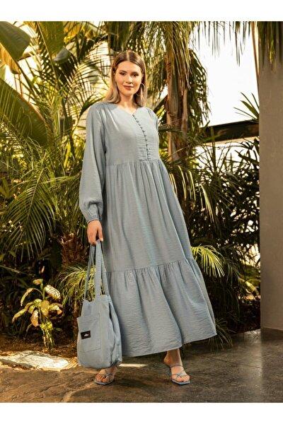 Kadın Buzul Mavi Büyük Beden Brit Düğme Detaylı Elbise